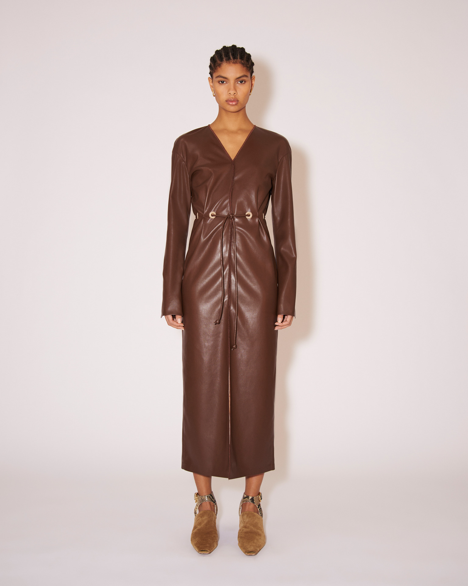Nanushka EDEL - Vegan leather tie-waist midi dress - Dark brown - XS